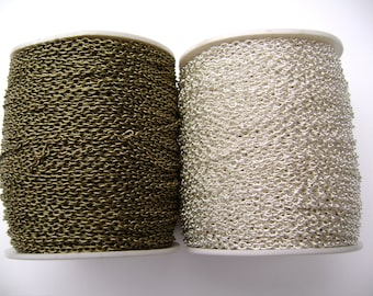 BULK Chain Cable Steel Gold Silver Copper Brass Gunmetal Many Colors, 318 ft SPOOL
