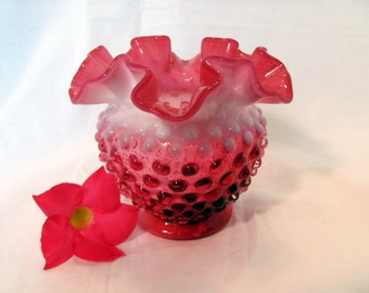 Fenton Cranberry Opalescent Hobnail Vase 4 Inches Tall
