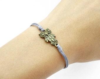 Owl Bracelet, Gray Bracelet, Waxed Cord Bracelet, Friendship Bracelet