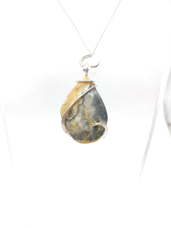 Widowmaker Bumble Bee Plume Agate Pendant | Lace Agate Necklace | Sterling Silver Pendant | Rare Stone Pendant | Included Agate Pendant