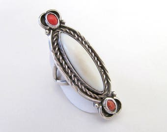 Mother of Pearl Ring, Big Sterling Silver Ring, Vintage Southwestern Ring, Native American Jewelry, Red Coral, Large Statement Ring, Size 9