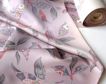 Pale Lilac Pink Silk Kimono Fabric unused bolt by the yard Lilac background with Floral Plant Pattern Modern Minimal100% silk OFF the bolt