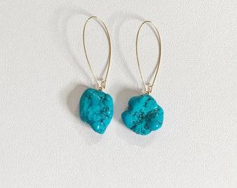 Turquoise Blue Howlite Earrings. Natural Howlite Earrings. Blue Howlite Dangle Earrings.