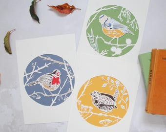 Set of three bird prints – British garden birds art – bird art – retro colours print – papercut art – papercut bird – housewarming – wren
