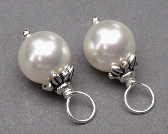 Swarovski Pearl Charms, Interchangeable Earring Charms, 8mm Swarovski Crystal Pearl Necklace Pendants, Pearl Dangle, Wedding Jewelry