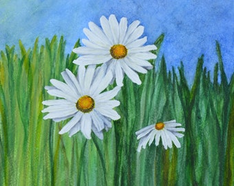 "Sunny Daisies,fine art giclee reproduction of an original watercolor painting by Meike Geisler;9.75"" x 14"" ; daisies basking in the sun"