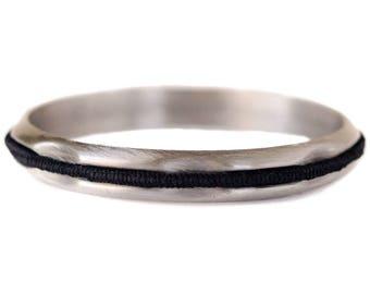 Hair Tie Bracelet, Hair Tie Holder, Hair Tie Bangle - Brushed Silver