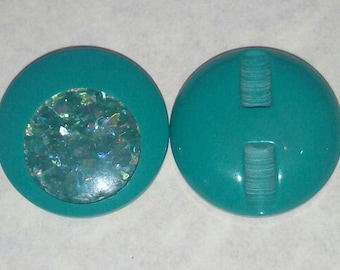 LARGE buttons gradient green SEQUIN VINTAGE 28 mm