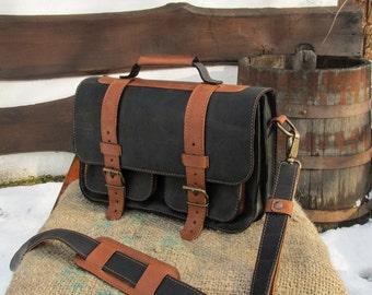 Hand Made Leather Bag / Leather Shoulder Bag / Black Leather Satchel / Leather Satchel / Saddle Bag / Leather Messenger Bag