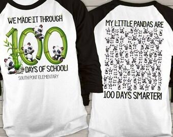 Teacher shirt - 100 Days of school - panda hundred days smarter personalized unisex raglan shirt   MSCL-120-r