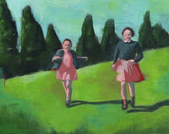 The Rush - Original Acrylic Painting of 2 friends sisters running in a landscape