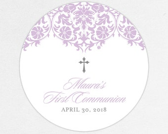 Purple Communion Stickers, First Communion Favor Labels, First Communion Stickers, First Holy Communion Favor Tags, Girl Communion, Printed