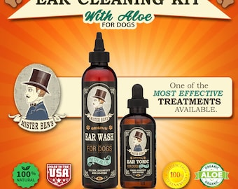 Most effective Ear Care Kit for dogs - Mister Ben's  Original Ear Tonic and Wash w/Aloe - Free ebook & 1 dollar donation to Rescue