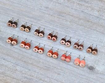 Brown Colour Pencil Ear Studs, Pencil Earring Stud, Handmade In England