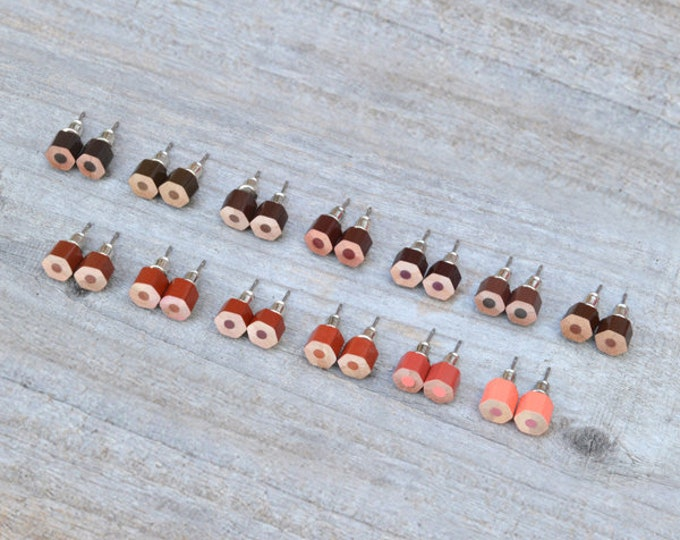 Brown Colour Pencil Ear Studs, Pencil Earring Stud, Handmade In England