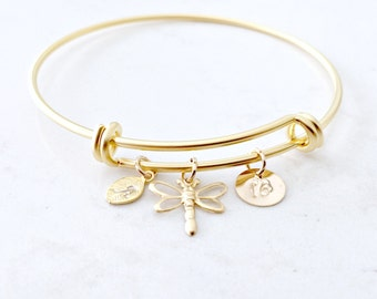 Personalized Dragonfly Bangle monogram jewelry leaf bracelet initial bangle Dragonfly bangle Bridesmaid Gift beach Wedding Graduation gift