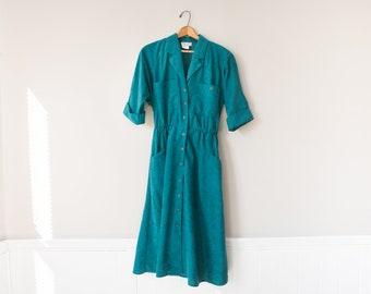 Vintage Teal Summer Midi Dress // 80's Button Down Market Dress // Women's Size 10
