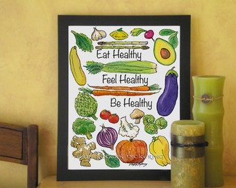 Be Healthy Kitchen Art Veggie Illustrations 8x10