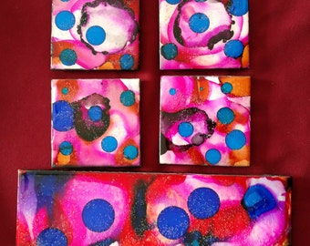 4 Blue/Pink/Red Alcohol Ink Ceramic Tile Coasters plus Trivet Set