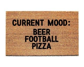 Beer Football Pizza Doormat - Funny Doormat - Welcome Door Mat - Pizza Doormat - Beer Doormat - Funny Doormats - Booze Doormat - Welcome Mat