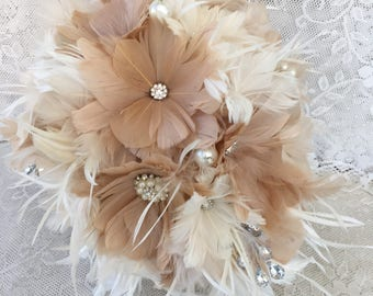 Cascade wedding bouquet,Feather Bridal bouquet,Champagne Wedding bouquet,Brooch bouquet,Alternative bouquet,Gatsby wedding,Champagne bouquet