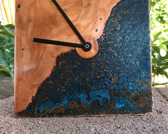 PATINA & HAND-FORGED Copper Clock - Antelope Canyon wedding housewarming gift unique unusual Arizona industrial decor father's coworker boss