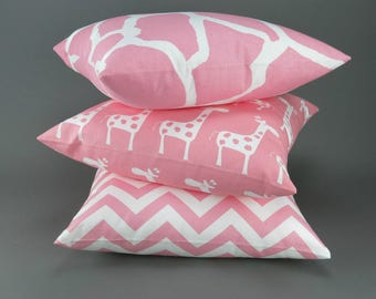 Baby Pink Pillows -MANY SIZES- Zoo animal nursery kids room girls Premier Prints throw cushion sham decorative decorator FREESHIP