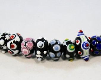 Black Bumpy Lampwork Rondelle Beads  12 Beads  (7 x 14 mm)