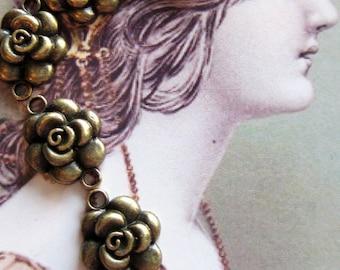 8 jewelry connectors bronze rose earring dangles antiqued pendants 15mm 20mm