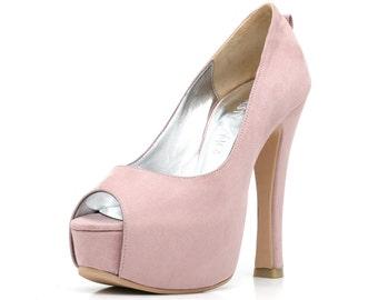Pink Peep Toe Wedding Heels, Pink Suede Bridal Shoes, Custom Made Wedding Shoes with Chunky Heel.