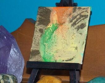 Blue Tigers Eye #4 Original Abstract Spray Paint Spiritual Painting On Canvas Panel 3x3 Mini Crystal Healing Energy Art 7.62 x 7.62 cm