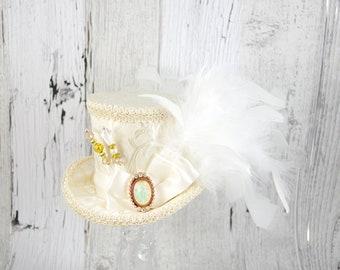Ivory on Ivory Elegant Wedding Medium Mini Top Hat Fascinator, Alice in Wonderland, Mad Hatter Tea Party, Derby Hat, Bridal Hat