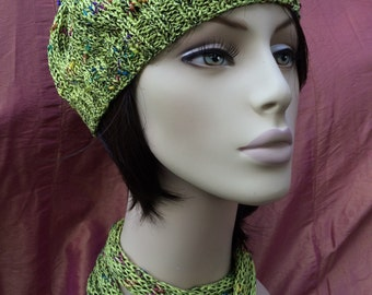Green beret and matching tie/scarf
