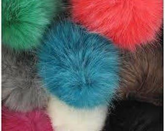Pompom fake fur, 5cm diameter, Berry, black, red or brown
