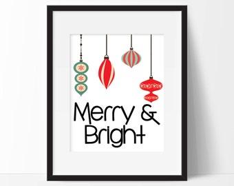 Merry & Bright Art Print - Christmas Art - Holiday Decor - Holiday Card