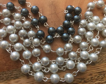 Glass pearls wire wrapped necklace