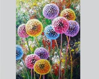 Painting canvas decor gift Dandelion flower decor art Acrylic wall art canvas decor Living room wall art Acrylic flower painting on canvas