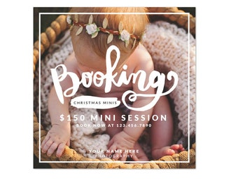 INSTANT DOWNLOAD - Booking ad -  photography mini session design - Photoshop template - E1226
