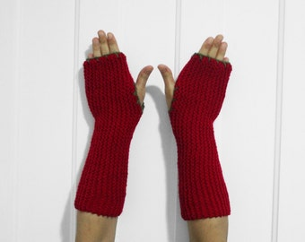 Long Fingerless Gloves / Armwarmers [Red & Army Green]