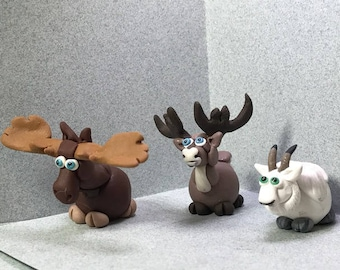 """North American Moose, Caribou, and Mountain Goat miniatures,- Critters """"on the Hoof"""", your choice!"""