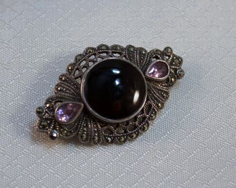 Vintage Sterling, Amethyst, Marcasites and Onyx Victorian Styled Brooch