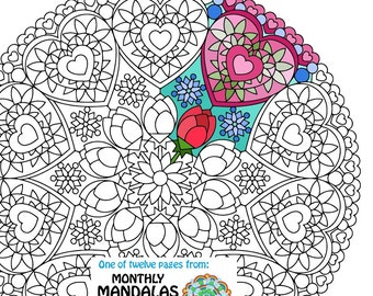 Nice Mandala Coloring Page   Valentineu0027s Day   Printable February Coloring Page    Adult Coloring Pages