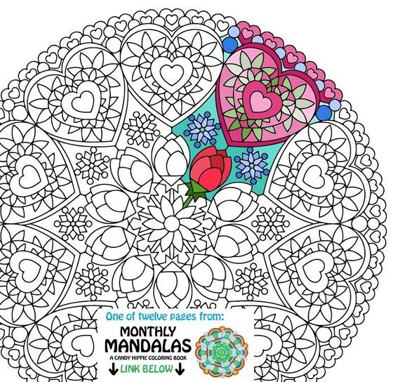 Mandala Coloring Seite Valentinstag druckbare Februar