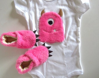 Baby Pink Furry Monster Baby Shower Gift Set