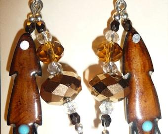 Native American Antler Feather Earrings