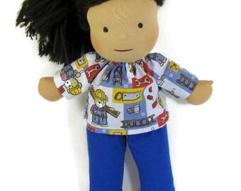 14, 15 inch doll clothing, builder bear construction doll shirt, Waldorf doll clothing