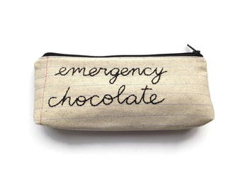 Emergency Chocolate Bag - Handmade Zipper Pouch - Notebook Paper Fabric - Cursive Letters - Treat Yo Self - New Mom - Mother's Day