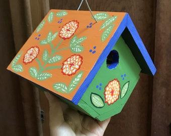 """Birdhouse Indoor-Outdoor Handpainted """"Orange Mum"""""""