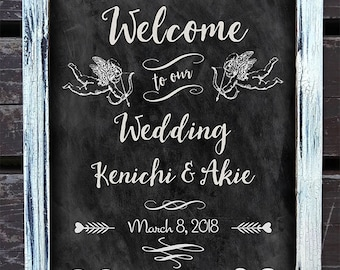 Custom Printable Chalkboard Wedding Sign - A4, Cupids