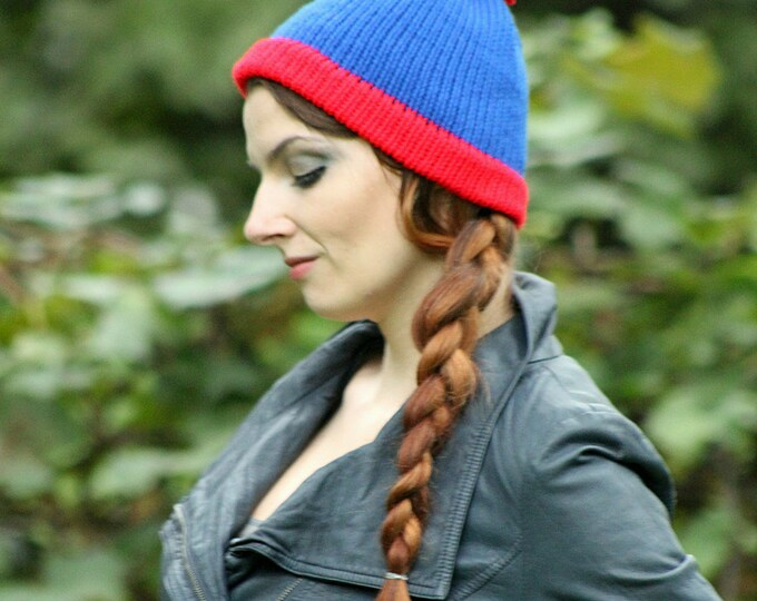 Stan Marsh  Blue and Red POm POm  Handmade Knit  Hat Costume ready to ship  Cartoon Beanie